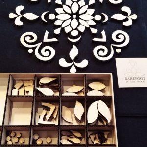 decoratief, houten blokjes, mandala, puzzel, creatief, mandala's maken